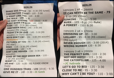 Stage Setlist The Cure